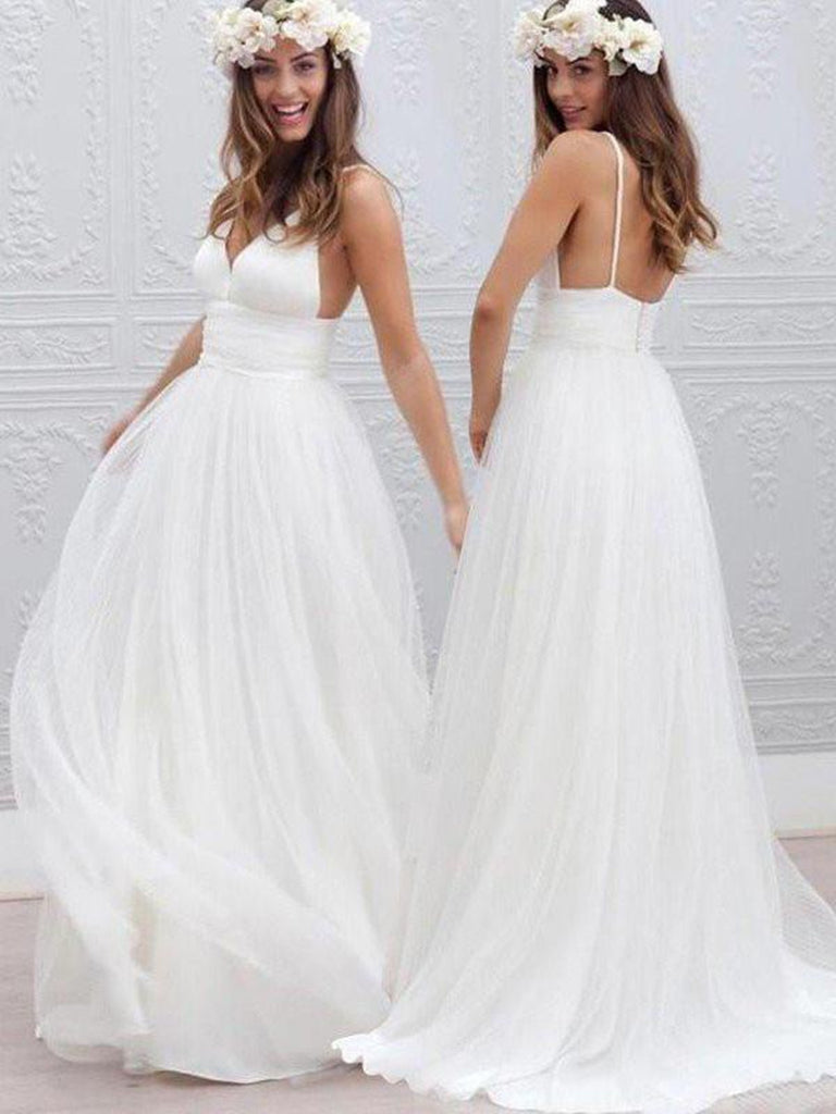A Line V Neck Open Back White Wedding Dresses, White V Neck Prom Dresses, Formal Dresses