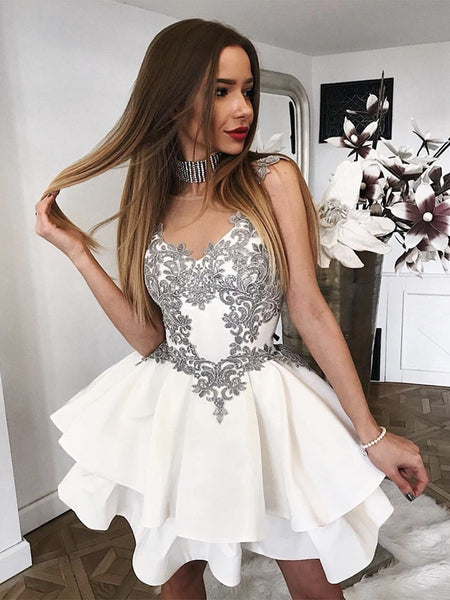 White Short Lace Prom Dresses, Short White Lace Formal Homecoming Dresses