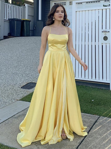 Yellow Satin Long Prom Dresses, Yellow Satin Long Formal Evening Dresses