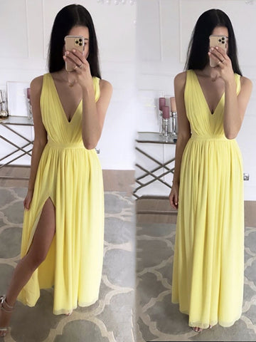 Yellow V Neck Long Chiffon Prom Dresses, V Neck Yellow Long Chiffon Formal Evening Dresses