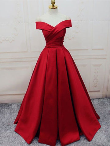 Custom Made Red Off Shoulder Floor Length Prom Dress, Off Shoulder Formal Dress