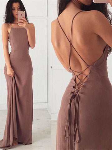 Simple A Line Backless Chiffon Prom Dress, Open Back Formal Dress