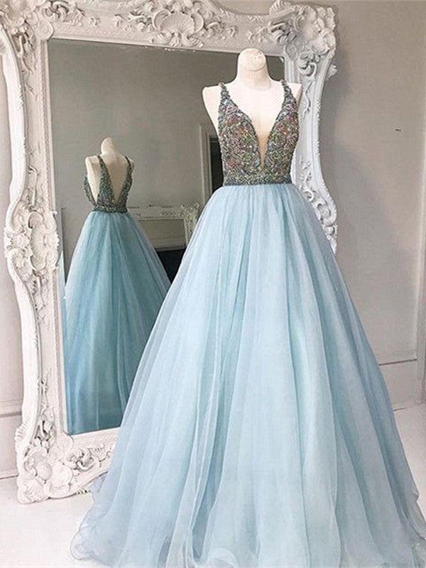 Custom Made Light Blue V Neck Open Back Prom Dresses, V Neck Formal Dresses