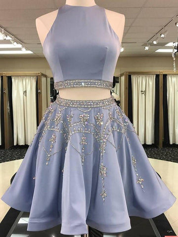A Line 2 Pieces Beaded Satin Prom Dresses, 2 Pieces Homecoming Dresses, Formal Dresses, Graduation Dresses