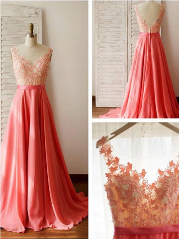 A Line Round Neck V Neck Back Long Lace Prom Dress, Long Lace Formal Dresses, Evening Dresses, Bridesmaid Dresses