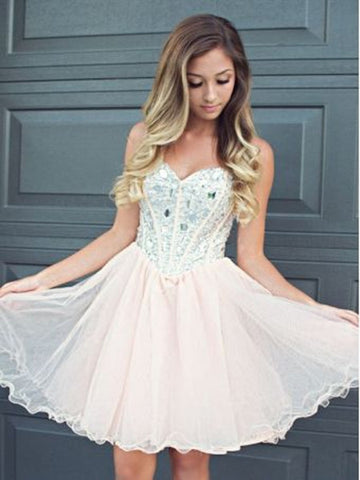 Light Pink Sweetheart Neck Short Prom Dresses, Short Homecoming/Graduation Dresses