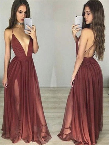 Custom Made Sexy Maroon/Burgundy V Neck Prom Dresses, Bridesmaid Dresses