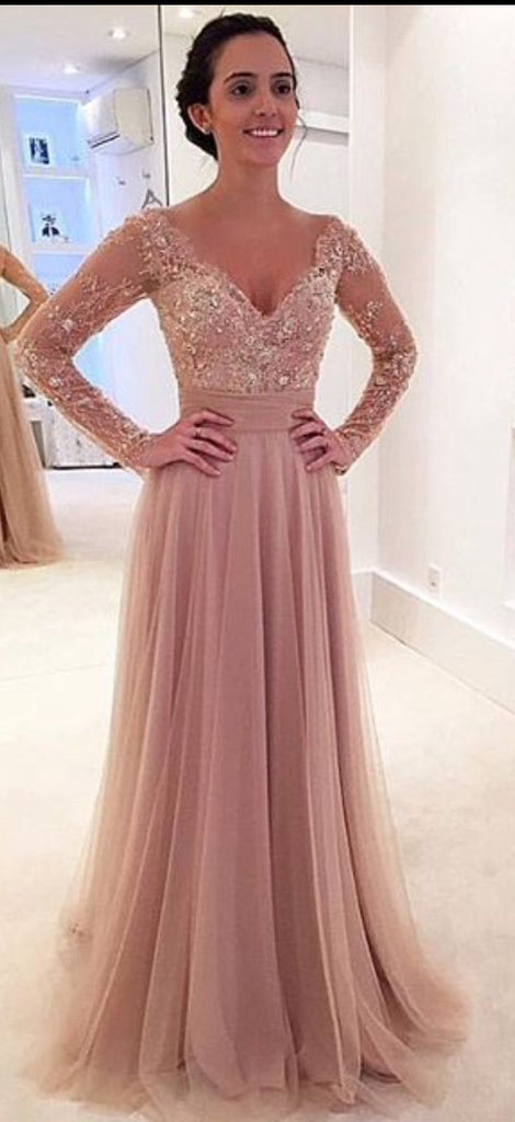 Custom Made V Neck Long Sleeves Lace Wedding Dresses, Lace Short ...
