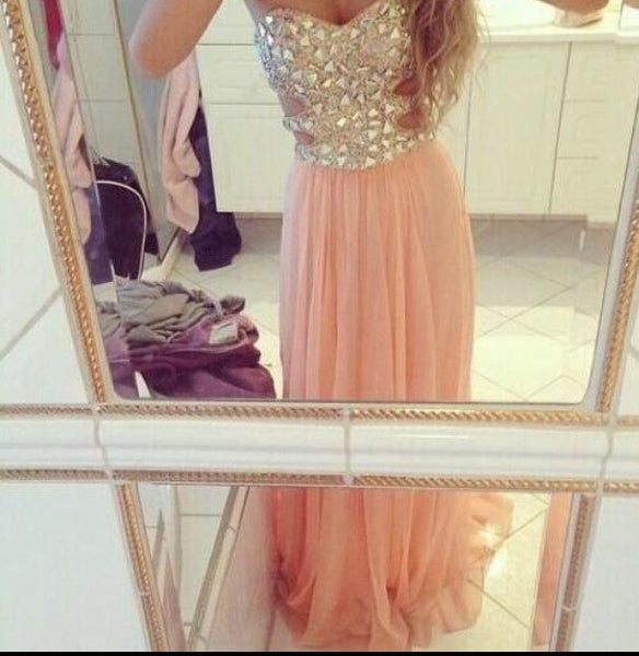 A Line Sweetheart Neck Long Pink Prom Dress, Formal Dress, Evening Dress