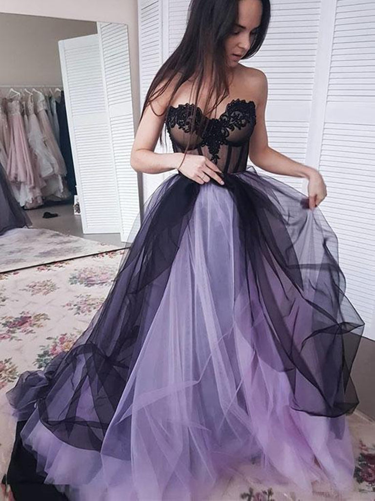 Custom Made Sweetheart Neck Black and Purple Tulle Prom Dresses, Black and Purple Formal Dresses
