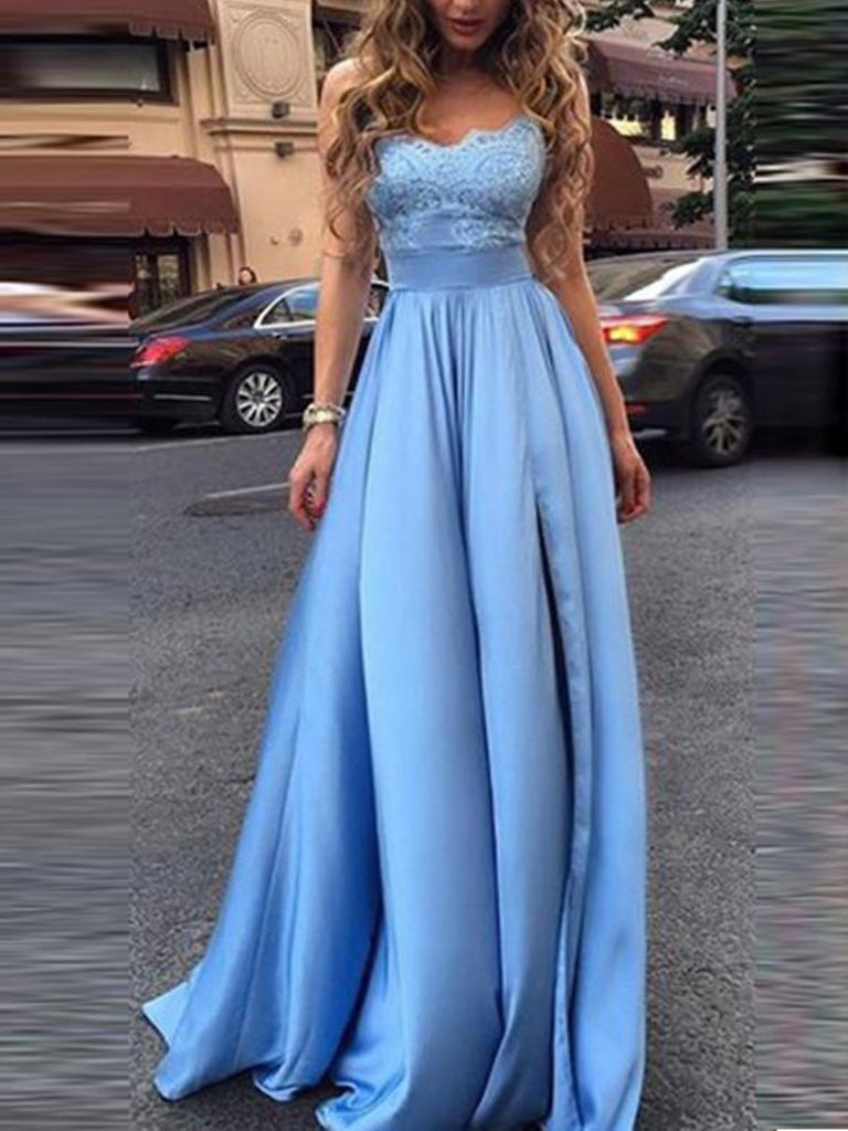A Line Light Blue Floor Length Prom Dress with Lace Top, Blue Lace Formal Dresses, Evening Dresses