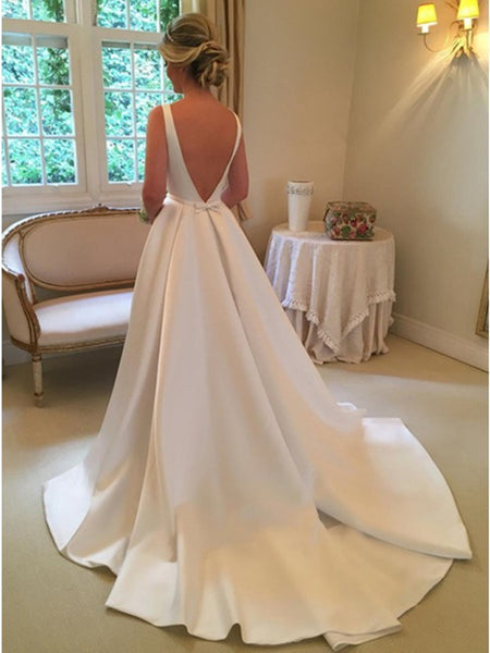 Custom Made Backless Ivory Wedding Dresses with Sweep Train, Backless Prom Dresses