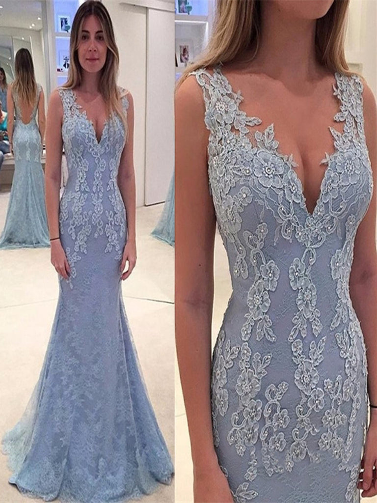 Blue Mermaid V Neck Backless Lace Prom Dresses, Backless Wedding Dresses, Lace Formal Dresses, Blue Graduation Dresses, Evening Dresses