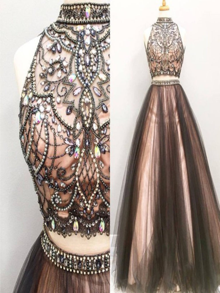 Custom Made High Neck 2 Pieces Prom Dresses, 2 Pieces Formal Dresses