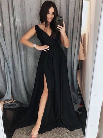 Custom Made A Line V Neck Black Prom Dresses with Leg Slit, Black V Neck Evening Dresses, Formal Dresses