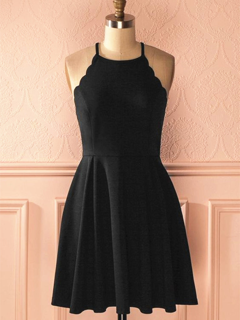 A Line Halter Neck Short Black Prom Dresses, Black Formal Dresses, Little Black Graduation Homecoming Dresses