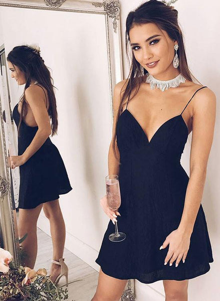 A Line V Neck Black Backless Prom Dresses, Short Black Backless Homecoming Dresses, Formal Dresses