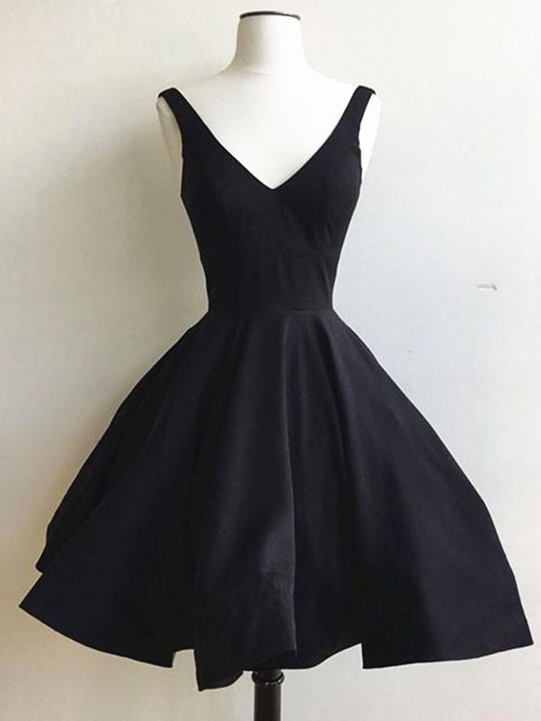 A Line V Neck Short Black Prom Dress, Short Black Graduation Dress, Homecoming Dresses