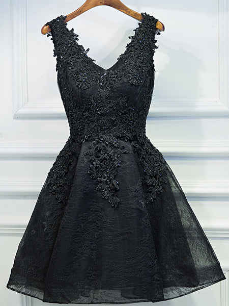 A Line V Neck Short Black Lace Prom Dresses, Black Short Formal Dresses, Black Lace Graduation Dresses, Homecoming Dresses