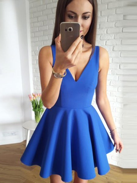 A Line V Neck Short Blue Prom Dresses, Short Blue Graduation Dress, Blue Homecoming Dresses