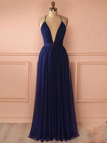 Custom Made A Line V Neck Blue Prom Dress, Backless Blue Graduation Dress, Formal Dresses, Evening Dresses