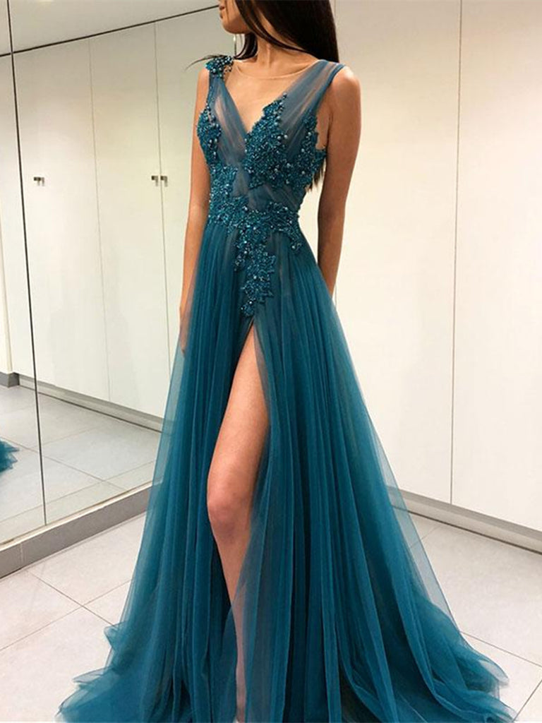 A Line Round Neck Open Back Lace Prom Dresses, Backless Lace Formal Dresses