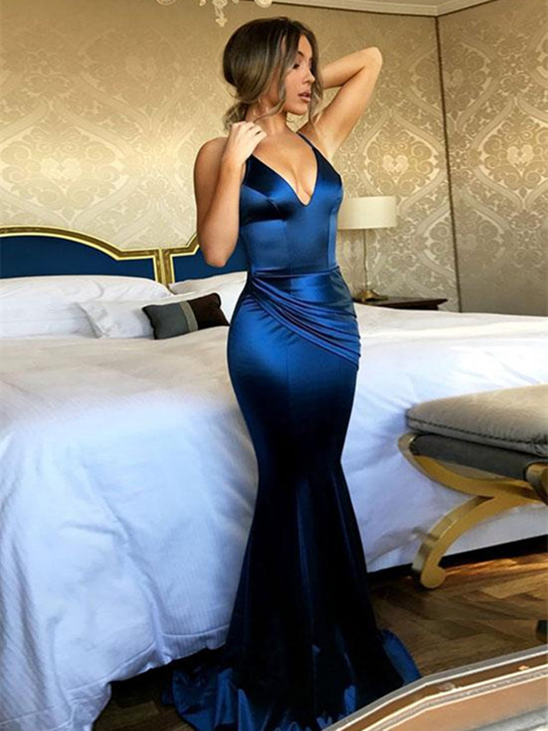 V Neck Open Back Mermaid Blue Prom Dress, Mermaid Blue Formal Dress, V Neck Backless Evening Dress