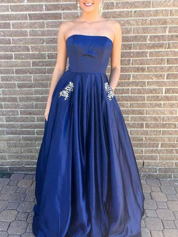 A-Line Strapless Hunter Green/Blue Prom Dress with Beading Pockets, Green/Blue Formal Dresses