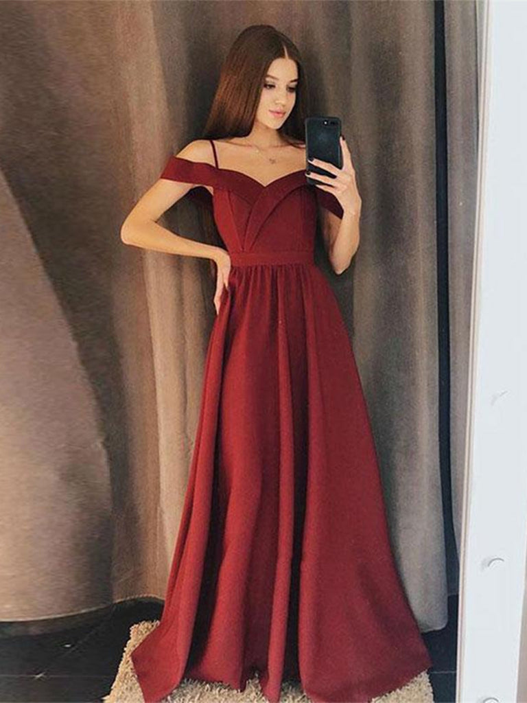 A Line Off Shoulder Burgundy Prom Dresses, Burgundy Formal Dresses, Evening Dresses