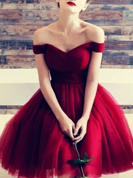 Custom Made Off Shoulder Short Burgundy Prom Dresses, Short Burgundy Formal Dresses, Graduation Dresses