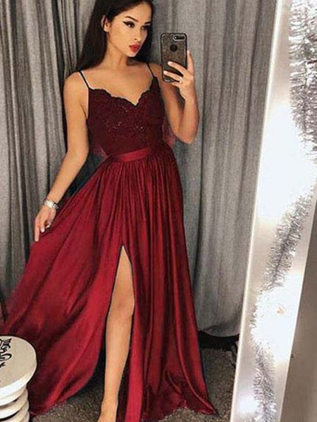 Custom Made A Line V Neck Burgundy Lace Prom Dresses, Burgundy Lace Formal Dresses, Evening Dresses