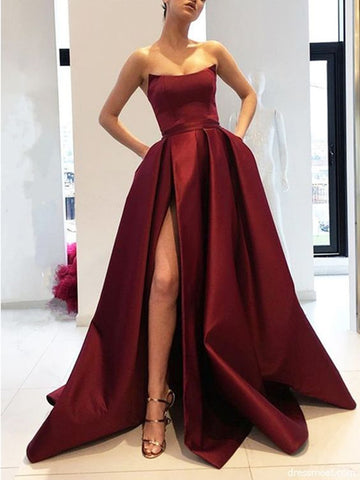 A Line Strapless High Slit Burgundy/Pink/Navy Blue Prom Dresses, High Slit Formal Dresses, Graduation Dresses