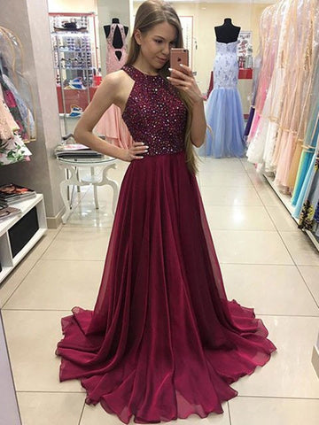 A-line Scoop Neck Burgundy Prom Dress, Burgundy Formal Dress, Burgundy Evening Dress