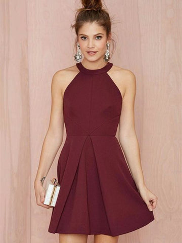 A Line Halter Neck Short Burgundy Prom Dresses, Short Burgundy Formal Dresses, Homecoming Graduation Dresses