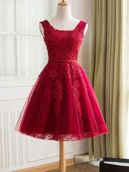 A Line Short Burgundy Lace Prom Dresses, Short Burgundy Formal Dresses, Lace Homecoming Dresses