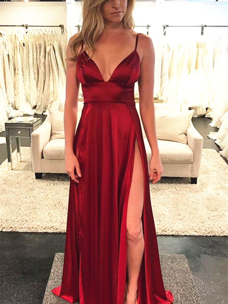 A Line V Neck Burgundy Prom Dress, V Neck Formal Dress, Burgundy Evening Dress