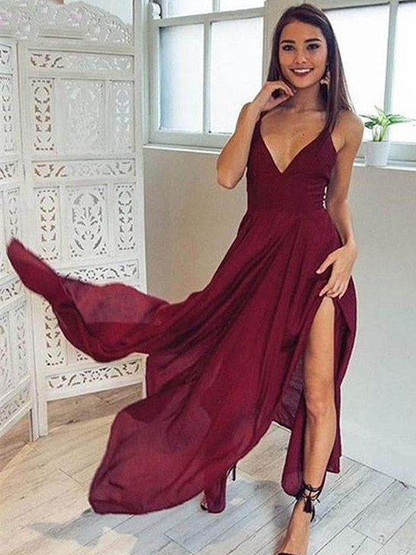 A Line V Neck Backless Long Maroon/Burgundy Prom Dresses, Backless Formal Dresses, Backless Maroon/Burgundy Bridesmaid Dresses