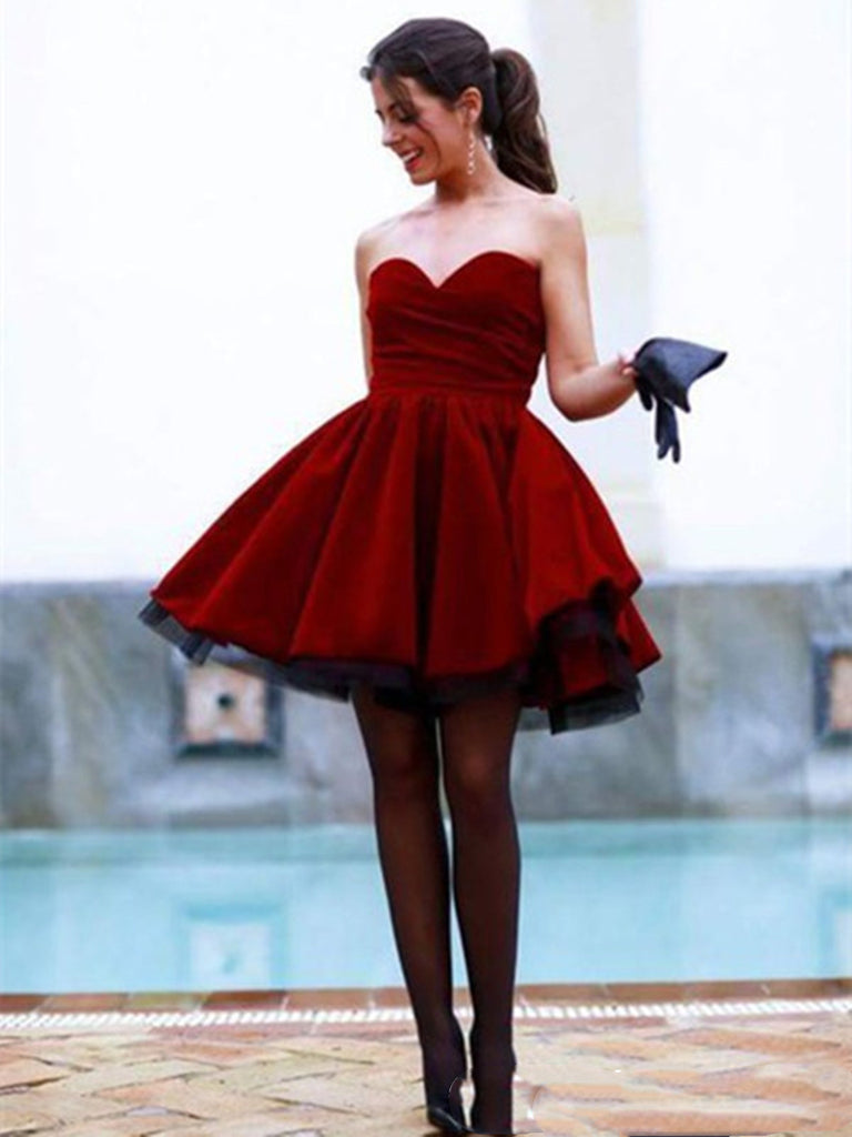 Custom Made A Line Sweetheart Neck Dark Red Short Prom Dress