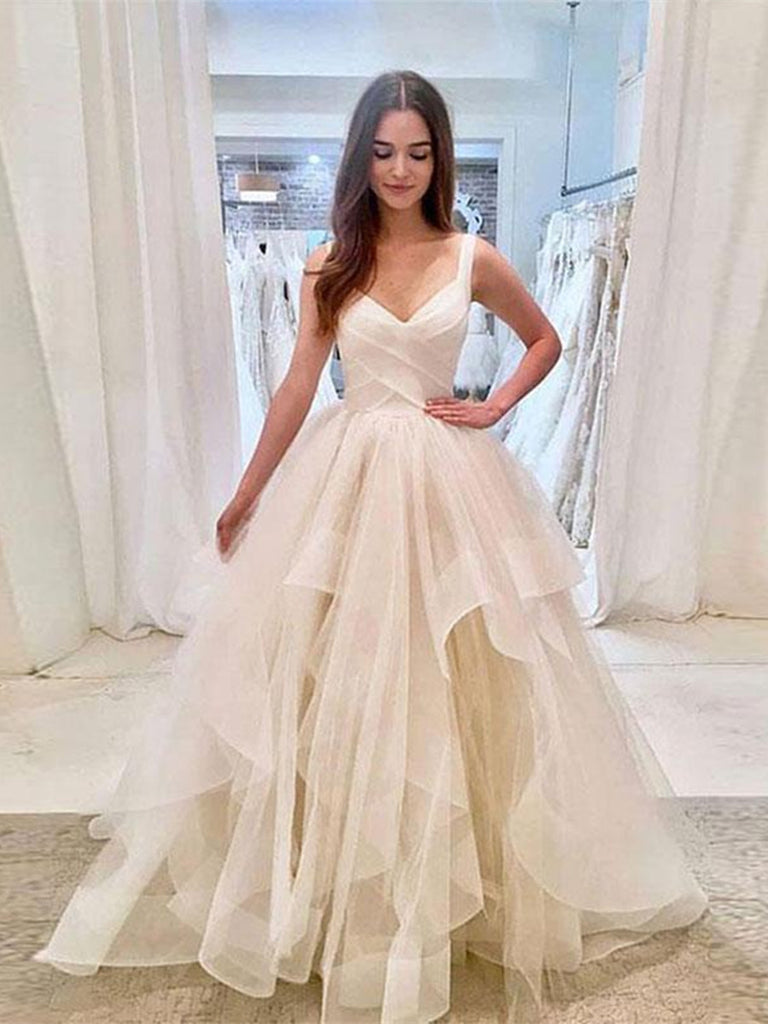 Custom Made Sweetheart Neck Light Champagne Wedding Dresses, Organza Prom Dresses, Light Champagne Formal Dresses