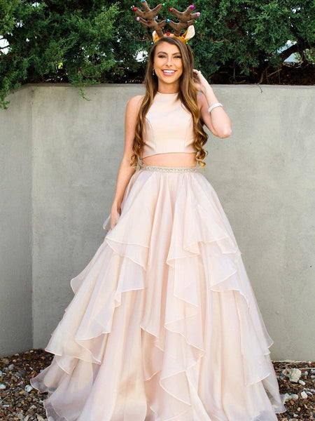 A Line Scoop Neck 2 Pieces Champagne/Pink Prom Dresses, 2 Pieces Formal Dresses, Evening Dresses