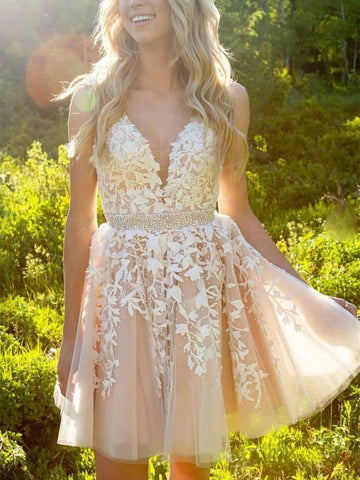 A Line V Neck Short Champagne Lace Prom Dresses, Short Champagne Formal Dresses, Homecoming Dress, Graduation Dresses