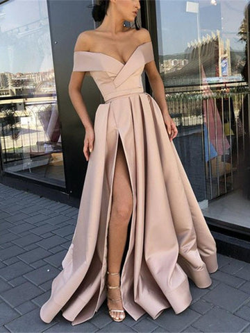 Off Shoulder Champagne/ Sky Blue High Slit Prom Dresses, Off Shoulder Formal Dresses, Graduation Dresses