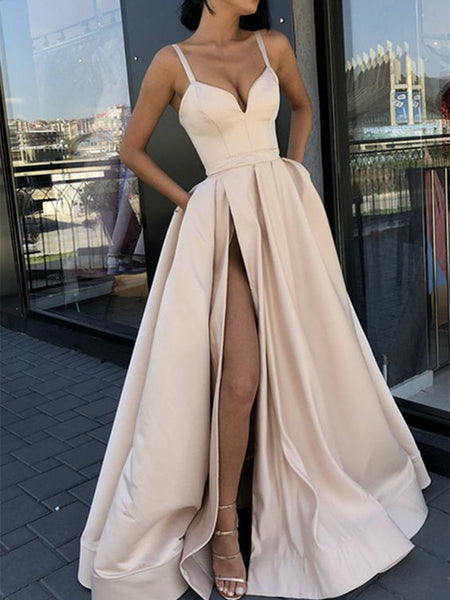 Custom Made A Line Champagne/ Royal Blue/ Burgundy/ Black Spaghetti Straps Prom Dress with High Slit, Ball Dresses, Formal Graduation Dresses