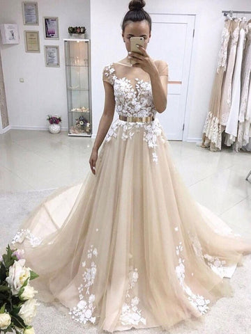 Champagne Round Neck Short Sleeves Sweep Train Prom Dress, Champagne Formal Dress, Wedding Dresses