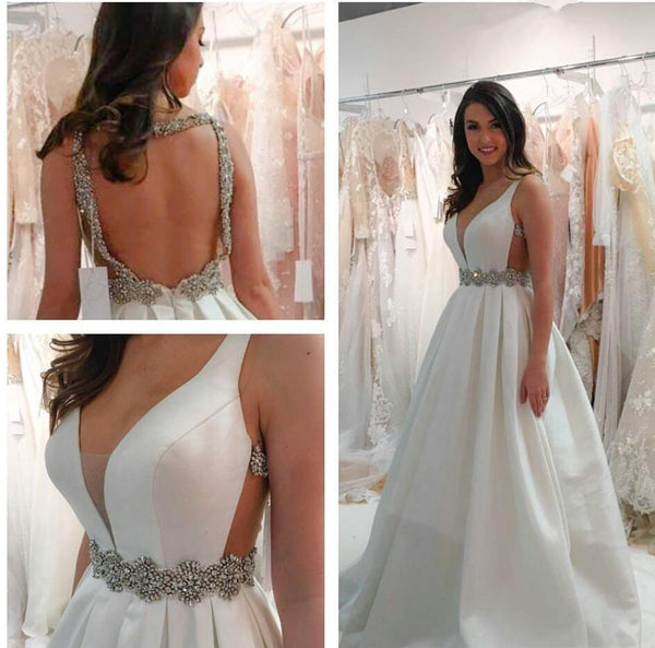 White Deep V Neck Backless Wedding Dress, Deep V Neck Prom Dress, Formal Dress