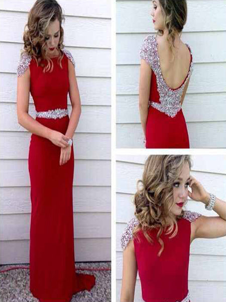 Custom Made A Line Round Neck Cap Sleeves Red Long Prom Dress,  Long Formal Dress