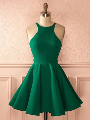 A Line Round Neck Backless Short Green Prom Dress, Short Green Graduation Dress, Homecoming Dresses