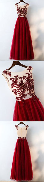 Custom Made Round Neck Burgundy Lace Prom Dress, Burgundy Lace Formal Dress, Evening Dress