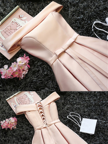 Custom Made Light Pink Off Shoulder Prom Dresses, Short Graduation Dresses, Pink Homecoming Dresses