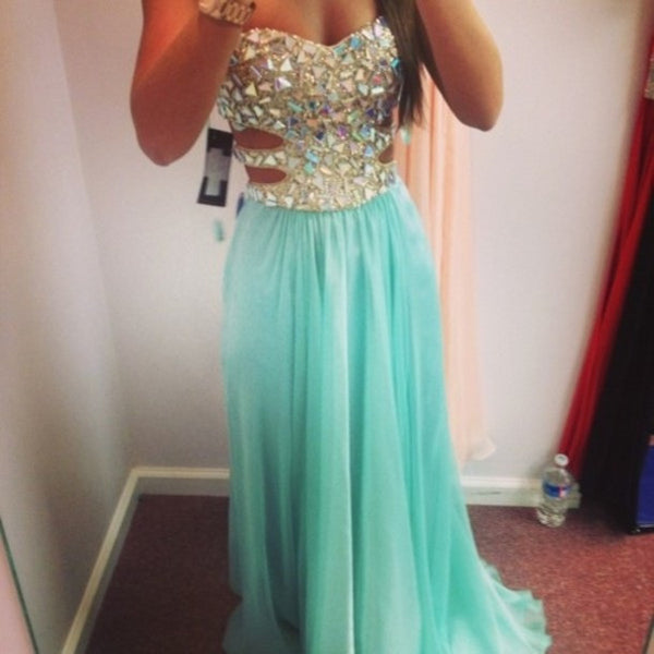 A Line Sweetheart Neck Long Blue Prom Dress, Formal Dress, Evening Dress